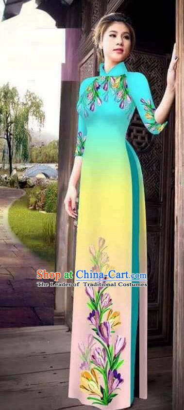 Traditional Top Grade Asian Vietnamese Ha Festival Printing Ao Dai Dress, Vietnam Women National Jing Nationality Princess Light Blue Cheongsam Bride Costumes