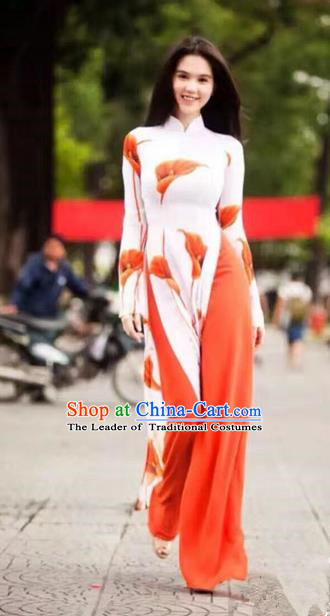 Traditional Top Grade Asian Vietnamese Ha Festival Printing Common Callalily Ao Dai Dress, Vietnam Women National Jing Nationality Princess Cheongsam Bride Costumes
