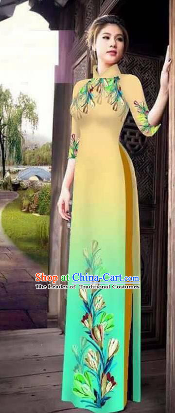 Traditional Top Grade Asian Vietnamese Ha Festival Printing Ao Dai Dress, Vietnam Women National Jing Nationality Princess Gradient Yellow Cheongsam Bride Costumes