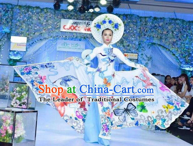 Traditional Top Grade Asian Vietnamese Ha Festival Hand Painting Ao Dai Dress, Vietnam Women National Jing Nationality Princess Cheongsam Bride Costumes
