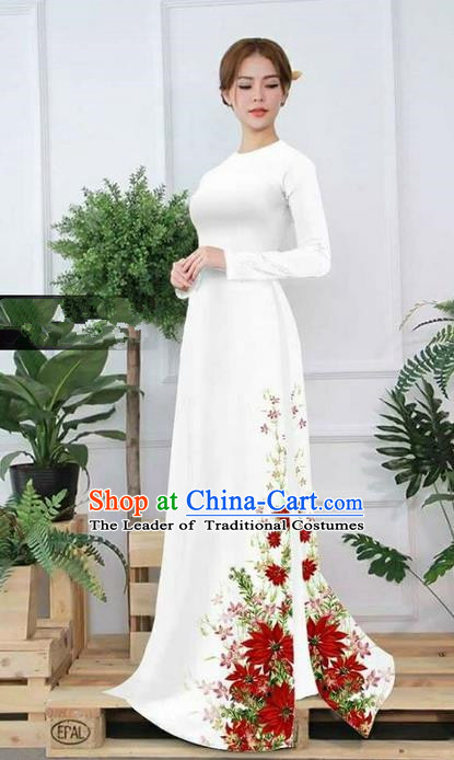 Traditional Top Grade Asian Vietnamese Ha Festival Printing Ao Dai Dress, Vietnam Women National Jing Nationality Princess White Cheongsam Bride Costumes