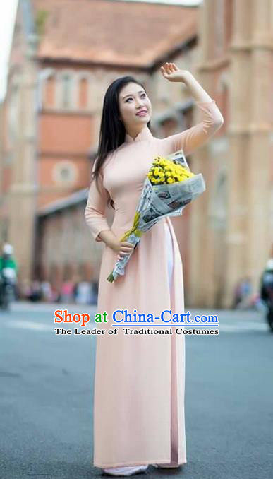 Traditional Top Grade Asian Vietnamese Ha Festival Ao Dai Dress, Vietnam Women National Jing Nationality Princess Pink Cheongsam Bride Costumes