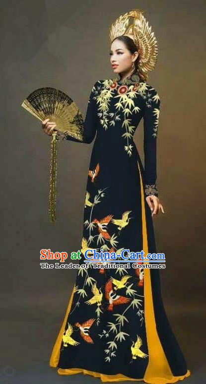 Traditional Top Grade Asian Vietnamese Ha Festival Printing Cranes Ao Dai Dress, Vietnam Women National Jing Nationality Queen Black Cheongsam Bride Costumes
