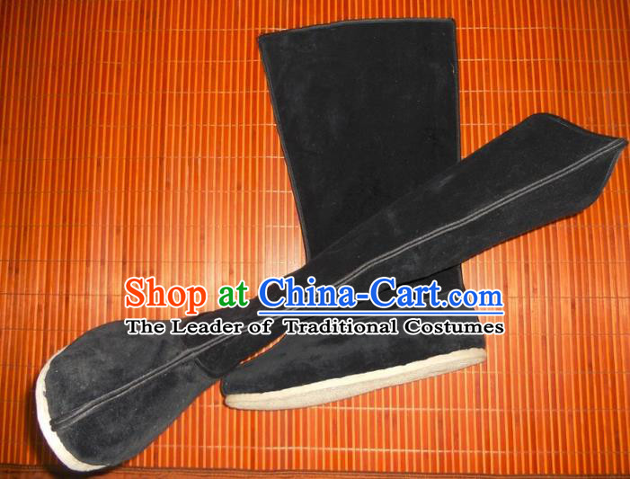Traditional Chinese Peking Opera Shoes, China Ancient Officer Handmade Boots, Chinese Qing Dynasty Minister Velveteen Boots for Men