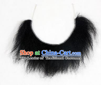 Chinese Ancient Opera Old Men Wig Beard, Traditional Chinese Beijing Opera Props Lu Zhishen Black Mustache