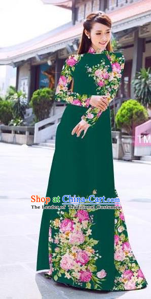 Traditional Top Grade Asian Vietnamese Ha Festival Printing Flowers Deep Green Ao Dai Dress, Vietnam Women National Jing Nationality Princess Cheongsam Bride Costumes