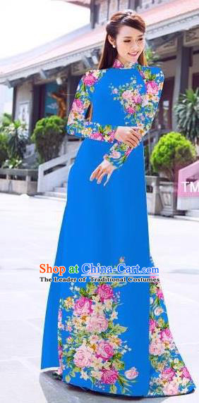 Traditional Top Grade Asian Vietnamese Ha Festival Printing Flowers Blue Ao Dai Dress, Vietnam Women National Jing Nationality Princess Cheongsam Bride Costumes