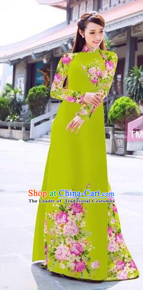 Traditional Top Grade Asian Vietnamese Ha Festival Printing Flowers Green Ao Dai Dress, Vietnam Women National Jing Nationality Princess Cheongsam Bride Costumes
