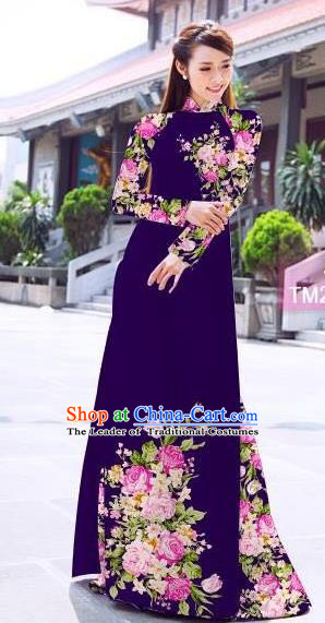 Traditional Top Grade Asian Vietnamese Ha Festival Printing Flowers Deep Purple Ao Dai Dress, Vietnam Women National Jing Nationality Princess Cheongsam Bride Costumes