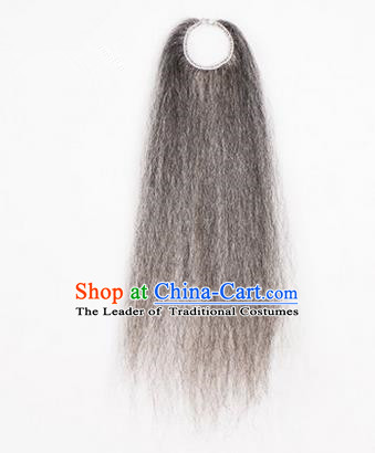 Chinese Ancient Opera Old Men Grey Long Wig Beard, Traditional Chinese Beijing Opera Props Laosheng-role Mustache