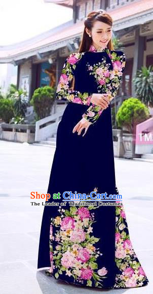 Traditional Top Grade Asian Vietnamese Ha Festival Printing Flowers Royalblue Ao Dai Dress, Vietnam Women National Jing Nationality Princess Cheongsam Bride Costumes