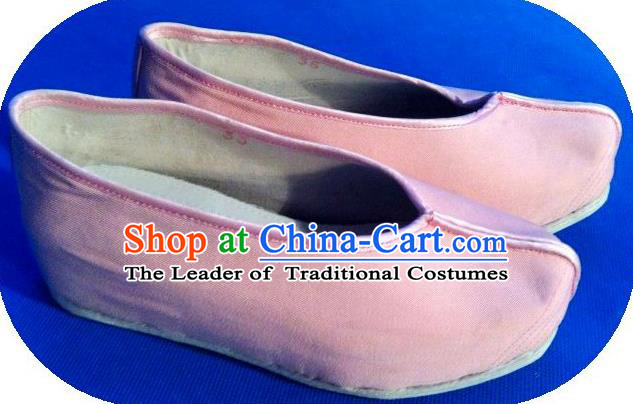 Traditional Chinese Peking Opera Shoes, China Ancient Young Lady Handmade Pink Shoes, Chinese Han Dynasty Princess Cloth Shoes for Women