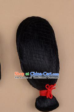 Chinese Ancient Opera Long Wigs, Traditional Chinese Beijing Opera Old Women Props Hair Chignon