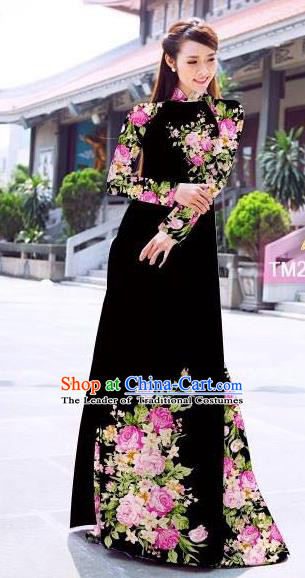 Traditional Top Grade Asian Vietnamese Ha Festival Printing Flowers Black Ao Dai Dress, Vietnam Women National Jing Nationality Princess Cheongsam Bride Costumes