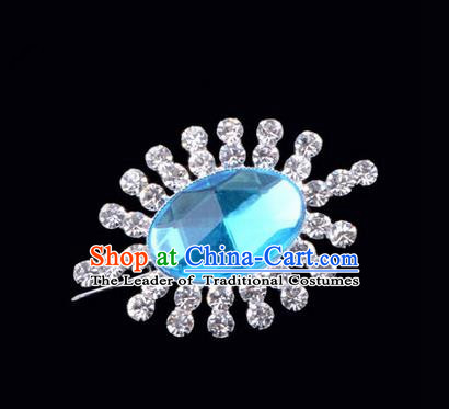 Chinese Ancient Peking Opera Jewelery Accessories, Traditional Chinese Beijing Opera Props Round Brooch Ornaments Hua Tan Blue Rhinestone Breastpin