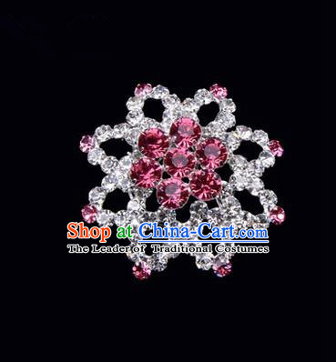 Chinese Ancient Peking Opera Jewelery Accessories, Traditional Chinese Beijing Opera Props Octagon Brooch Ornaments Hua Tan Pink Rhinestone Breastpin