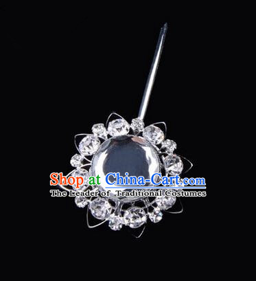 Chinese Ancient Peking Opera Pink Flowers Hair Accessories Headwear, Traditional Chinese Beijing Opera Props Head Ornaments Hua Tan White Crystal Bulb Hairpins