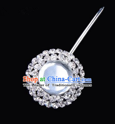 Chinese Ancient Peking Opera Pink Flowers Hair Accessories Headwear, Traditional Chinese Beijing Opera Head Ornaments Hua Tan Double Ring White Crystal Bulb Hairpins