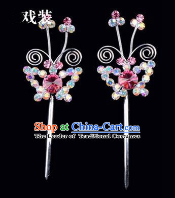 Chinese Ancient Peking Opera Pink Flowers Hair Accessories Headwear, Traditional Chinese Beijing Opera Head Ornaments Hua Tan Colorful Pink Butterfly Crystal Hairpins