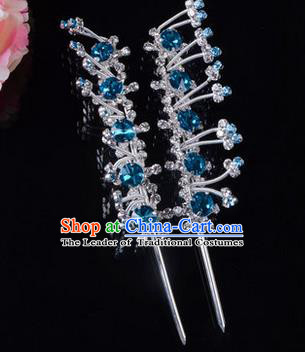 Chinese Ancient Peking Opera Pink Flowers Hair Accessories Young Lady Headwear, Traditional Chinese Beijing Opera Head Ornaments Hua Tan Blue Crystal Hairpins
