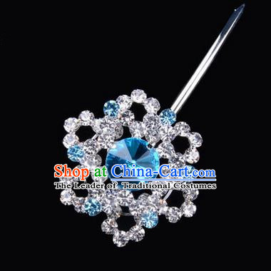Chinese Ancient Peking Opera Pink Flowers Hair Accessories Headwear, Traditional Chinese Beijing Opera Head Ornaments Hua Tan Colorful Blue Hexagonal Crystal Bulb Hairpins