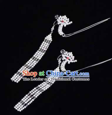 Chinese Ancient Peking Opera Hair Accessories Young Lady Headwear, Traditional Chinese Beijing Opera Head Ornaments Hua Tan Phoenix Crystal Hairpins
