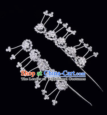 Chinese Ancient Peking Opera Hair Accessories Young Lady Headwear, Traditional Chinese Beijing Opera Head Ornaments Hua Tan Plum Blossom White Crystal Hairpins