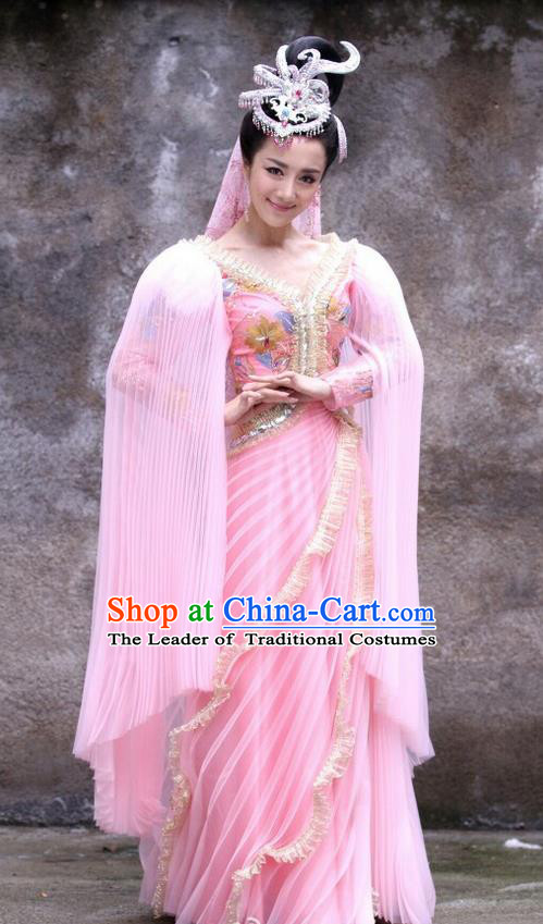 Traditional Chinese Shang Dynasty Sue da ji Costumes and Headpiece Complete Set, The Legend of Funsbau Ancient Imperial Consort Dress Clothing
