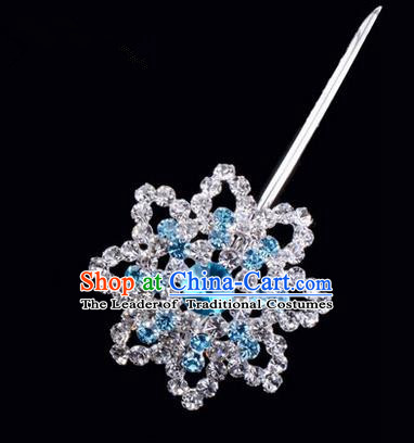 Chinese Ancient Peking Opera Pink Flowers Hair Accessories Headwear, Traditional Chinese Beijing Opera Head Ornaments Hua Tan Colorful Blue Octagon Crystal Bulb Hairpins