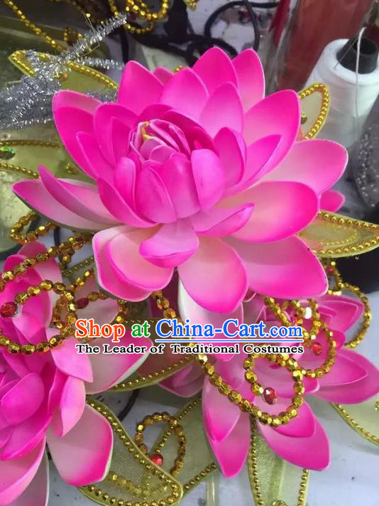 Traditional Chinese Folk Dance Lotus Hair Accessories, China Ancient Classical Dance Handmade Headwear for Women