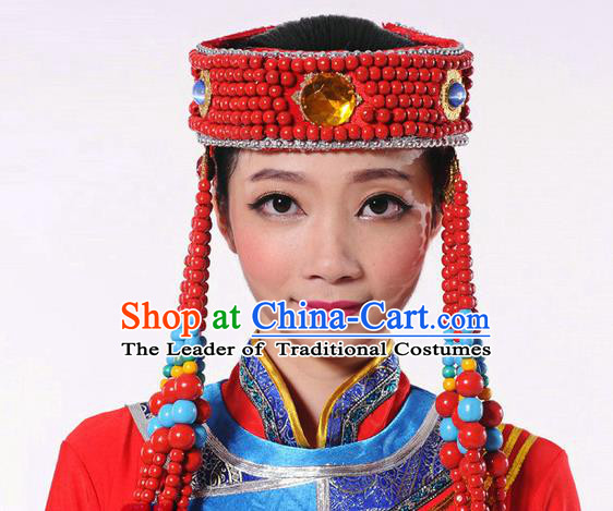 Traditional Chinese Mongol Nationality Dance Headwear, Mongols Female Folk Dance Hair Accessories, Chinese Mongolian Minority Princess Hat for Women