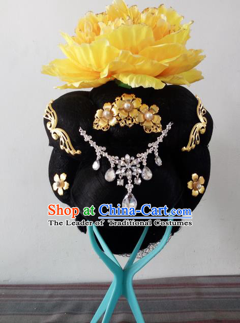 Traditional Chinese Peking Opera Flying Dance Headgear Wigs and Hair Accessories Complete Set, China Tang Dynasty Imperial Consort High-grade Headwear for Women