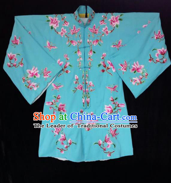 Traditional Chinese Peking Opera Imperial Concubine Embroidered Magnolia flower Costumes, China Beijing Opera High-grade Robe Blouse for Women
