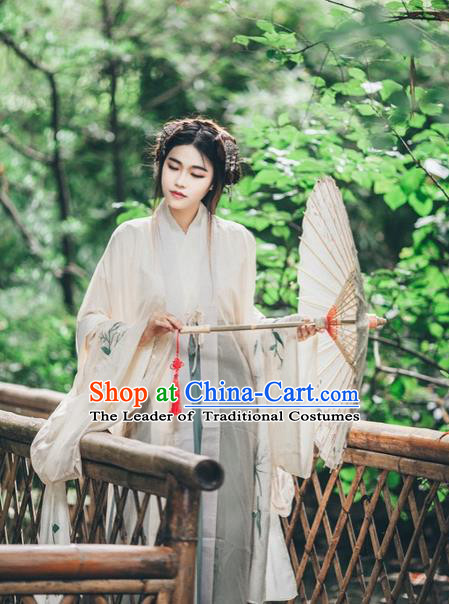Traditional Chinese Ancient Female Costumes, China Hanfu Wide-sleeve Cardigan Blouse and Dress Complete Set, Embroidered Flower Wearing for Women
