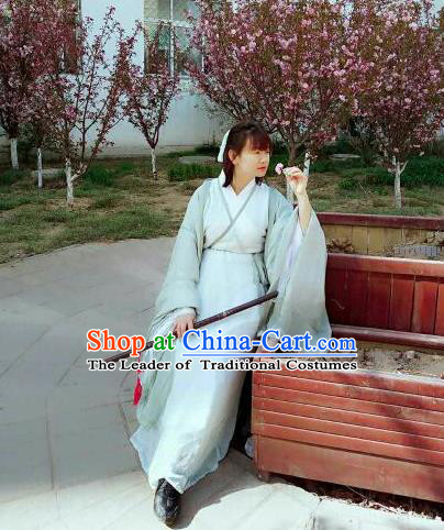 Traditional Chinese Ancient Female Costumes, China Hanfu Wide-sleeve Cardigan Blouse and Dress Complete Set, China Jin Dynasty Wearing for Women