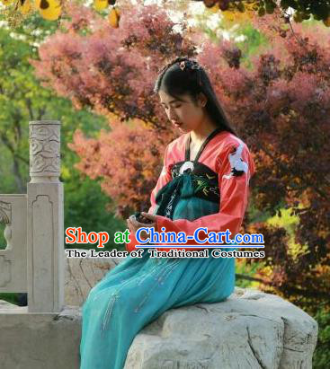 Traditional Chinese Ancient Tang Dynasty Female Costumes, China Hanfu Embroidered Blouse and Dress Complete Set Wearing for Women