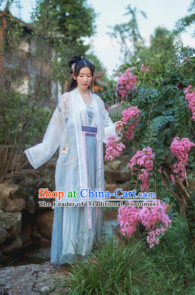 Traditional Chinese Ancient Tang Dynasty Female Costumes, China Hanfu Cardigan Embroidered Blouse and Dress Complete Set for Women