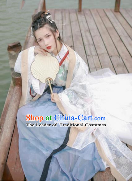 Traditional Chinese Ancient Jin Dynasty Princess Costumes, China Hanfu Embroidered Cardigan Blouse and Ru Skirt Complete Set for Women