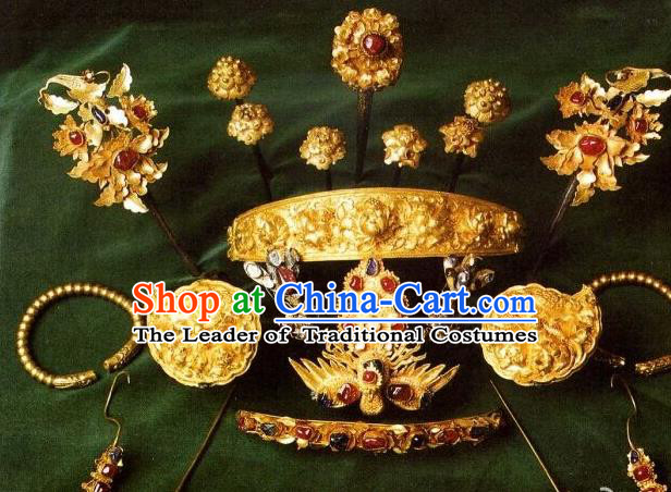 Traditional Chinese Ancient Classical Handmade Imperial Empress Hair Accessories Golden Headwear Hairpin Complete Set for Women