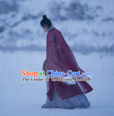 Traditional Chinese Ancient Jin Dynasty Young Lady Costumes, China Princess Hanfu Embroidered Wide-sleeve Cardigan Slant Opening Robe Ru Skirt Complete Set for Women