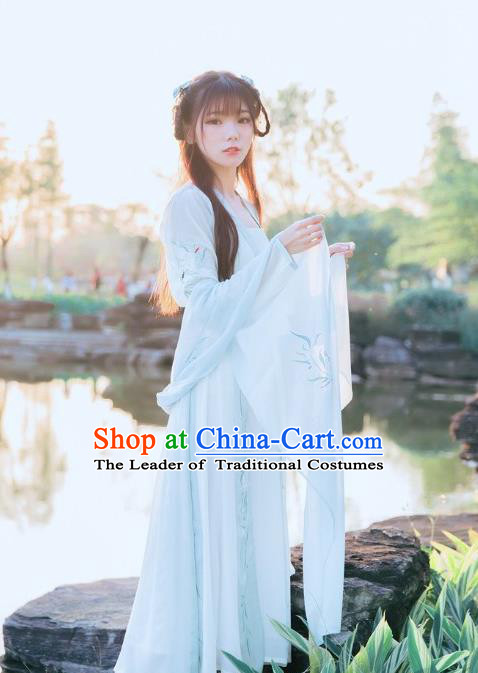 Traditional Chinese Ancient Ming Dynasty Noble Lady Costumes, China Princess Hanfu Embroidered Cardigan Sun-top Blouse and Ru Skirt Complete Set for Women