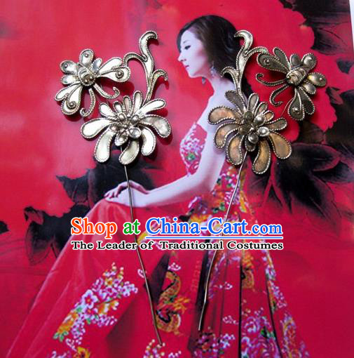 Traditional Handmade Chinese Ancient Classical Hair Accessories Barrettes Flower Hairpin Hair Fascinators for Women
