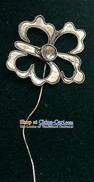 Traditional Chinese Ancient Classical Miao Silver Handmade Hair Accessories Little Flower Hairpin Hair Fascinators for Women