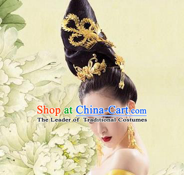 Traditional Chinese Ancient Classical Handmade Tang Dynasty Imperial Empress Hair Accessories Headwear Hairpin Complete Set for Women
