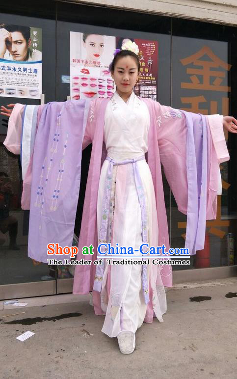 Traditional Chinese Ancient Jin Dynasty Young Lady Costumes, China Princess Hanfu Embroidered Cardigan and Ru Skirt Complete Set for Women