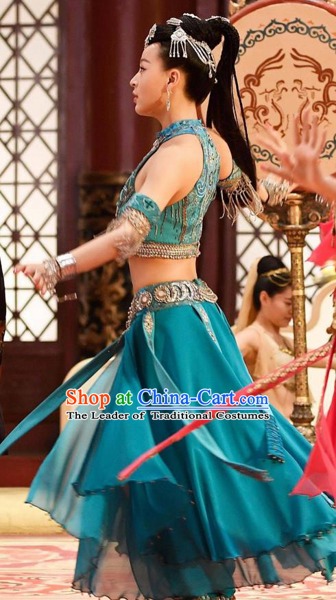 Chinese Ancient Tang Dynasty Palace Lady Belly Dance Costume and Headpiece Complete Set, Traditional Chinese Ancient Peri Flying Dance Dress Clothing for Women