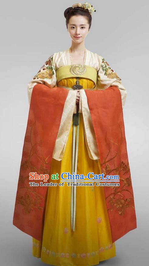 Chinese Ancient Tang Dynasty Imperial Princess Costume, Traditional Chinese Ancient Palace Lady Aristocratic Miss Costume and Headpiece Complete Set for Women