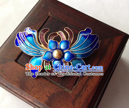 Traditional Handmade Chinese Ancient Classical Accessories Blueing Brooch Butterfly Pendent for Women