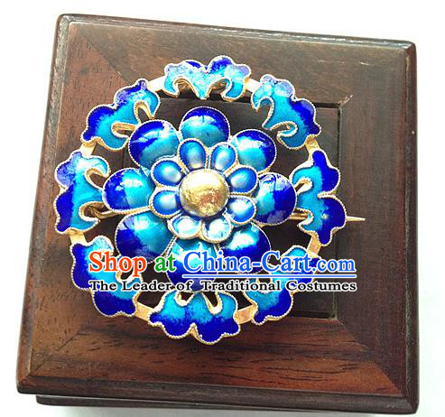 Traditional Handmade Chinese Ancient Classical Accessories Blueing Brooch Round Pendent for Women