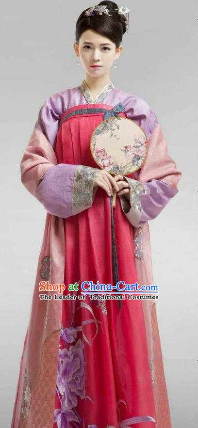 Chinese Ancient Tang Dynasty Palace Lady Costume, Traditional Chinese Ancient Peri Female Officials Princess Dress and Headpiece Complete Set for Women